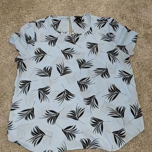 Lighht blue with black leaf pattern blouse